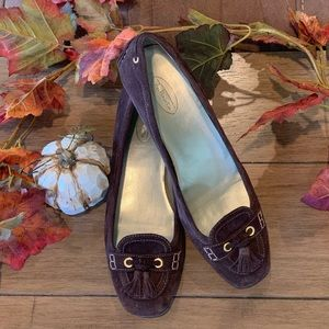 Brown Suede loafer with tassels 9 1/2